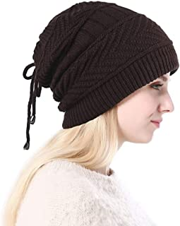 Womens Winter Knitted Beanie Hat Multi-Purpose Pleated Wool Cap Lady Outdoor Plus Velvet Knit Hat,Brown