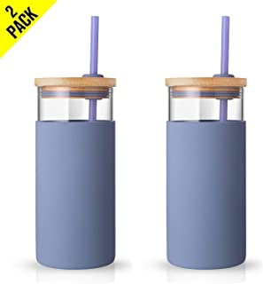Tronco 20oz Glass Tumbler Straw Silicone Protective Sleeve Bamboo Lid - BPA Free (Purple/ 2-Pack)