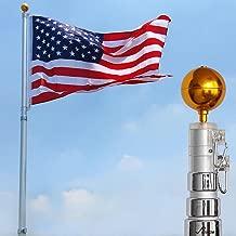 Yeshom 20 ft Telescopic Aluminum Flag Pole 3 x 5 US Flag & Ball Top Kit 16 Gauge Telescoping Flagpole Fly 2 Flag