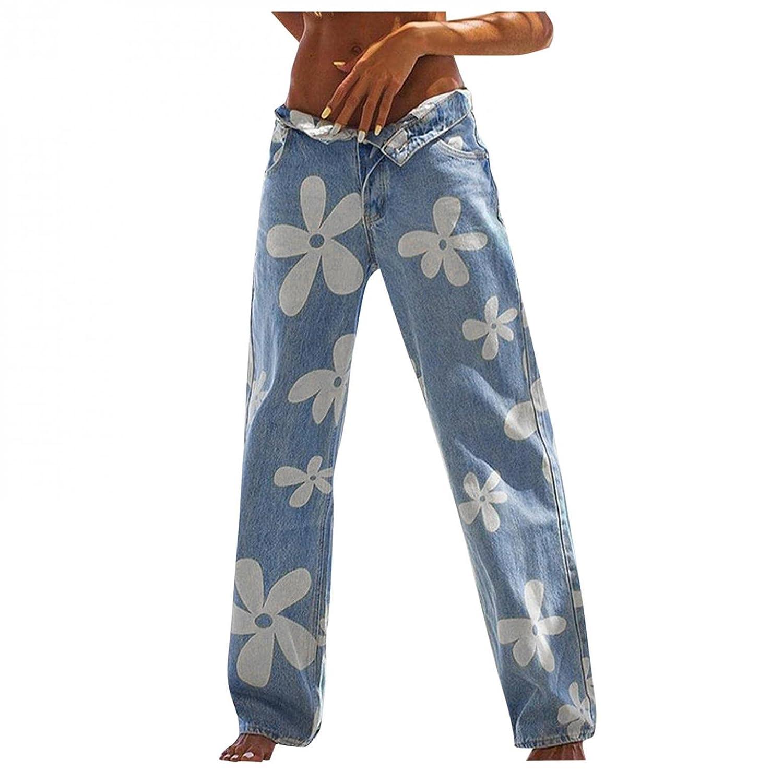 Padaleks High Waisted Jeans for Women Pull On Jeans Streetwear Flower Print Denim Pants Baggy Wide Leg Trousers