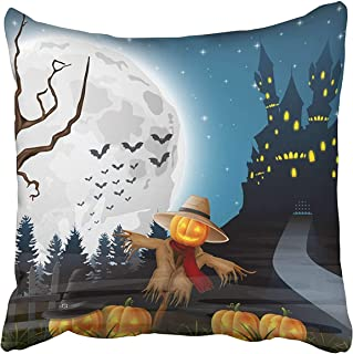 FJPT Throw Pillow Cover Blue Forest of Scary Castle with Scarecrow and Pumpkins on The Full Moon Autumn Bat Cartoon Celebration Cotton Pillowslip for Sofa Bed Stand Size Pillowcase 18x18 Inch
