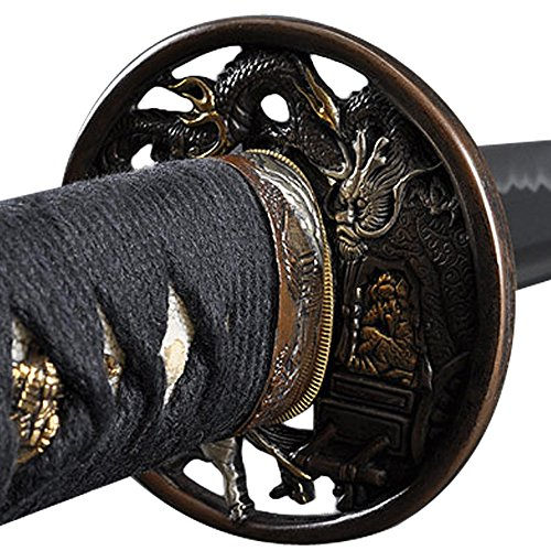 Handmade Sword - Samurai Sword Katana, Functional, Hand Forged, 1045/1060 Carbon Steel, Heat Tempered/Clay Tempered, Full Tang, Sharp, Wooden Scabbard (Dragon392)