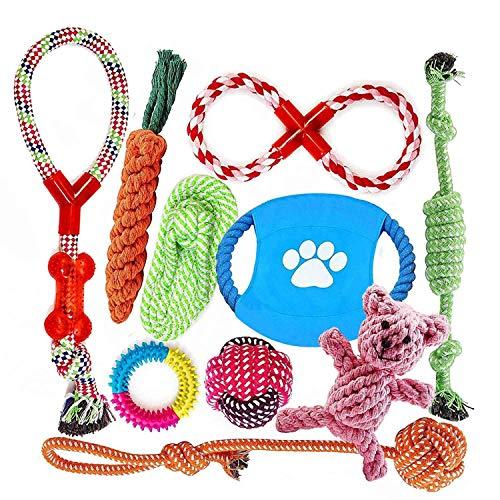 Angelland Grupo de Juguetes para Perros Durable Masticable Cuerda Soledad Grupo de Juguete para Perrito Pequeño Medio Solitario para Mantener a su Perro Sano 10 Piezas