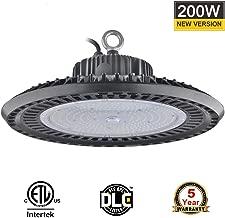 BloomGrow 200W UFO LED High Bay Light Fixture 120V~227V 5000K Commercial Outdoor Light Fixture Warehouse, Workshop, Wet Location Area Light IP65 Waterproof UL ETL DLC Listed (200W)