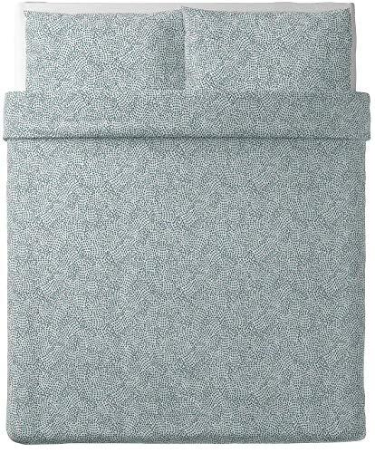 Ikea TRADKRASSULA Duvet Cover and Pillowcase(s), White/Blue, Full/Queen (Double/Queen)