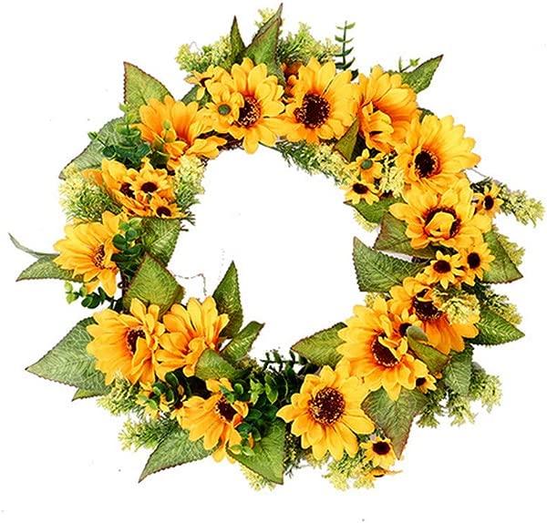 YLCOYO Simulation Sunflower Wreath Decorative Festivals Door Hanging Home Party Decoration