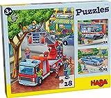 HABA-302759-Puzzles Policía, Bomberos y compañía Puzle Infantil, Multicolor (302759)