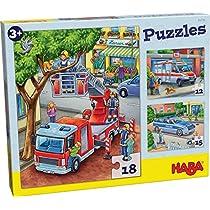 HABA-302759-Puzzles-Policia-Bomberos-y-compania-Puzle-Infantil-Multicolor-302759