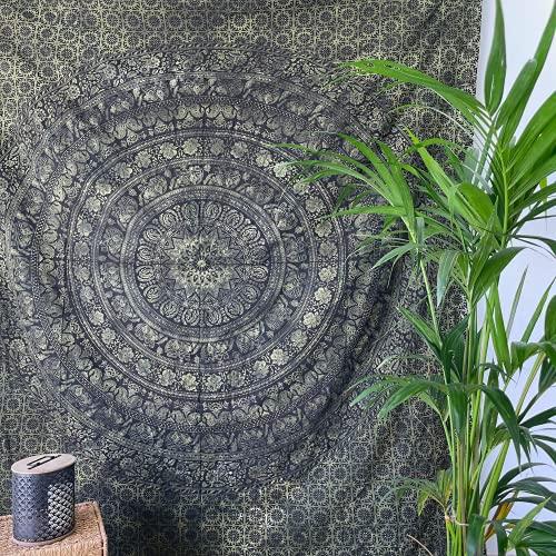 MOMOMUS Wandteppich Mandala - Leopard - 100% Baumwolle, Groß, Mehrzweck - Bettüberwurf/Sofaüberwurf & Überwurf für Sofa/Couch und Bett - Decke/Plaid/Tagesdecke, Grün