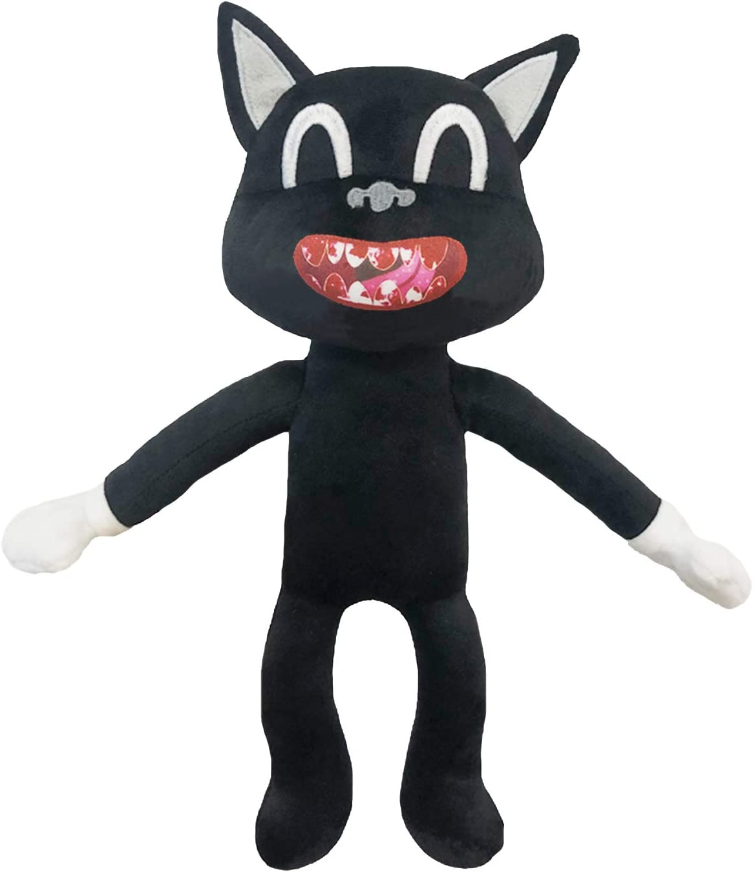Amazon Com Black Cartoon Cat Plush Soft And Embrace Anime Cat Plush Toys Kids Birthday Christmas New Year Decoration Plush 12 6 Inches Black Toys Games