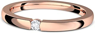 Amoonic FF584VGRSZIFA Tension Ring Rose Gold (925 Sterling Silver) Engagement Ring with Zirconia Stone and Luxury Case Rose Gold Ring Cubic Zirconia Gold Ring Wedding Proposal Love Gift