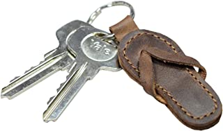 Leather Flip-Flop Keychain/Sandal/Beach/Keychain for Travelers, Sufers and Beach Lovers, Handmade Includes 101 Year Warranty :: Bourbon Brown