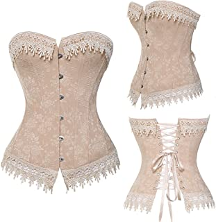 Lace Up Corsets Bustiers Overbust Waist Trainer Embroidery Boned White Beige Corset Burlesque Costumes Halloween