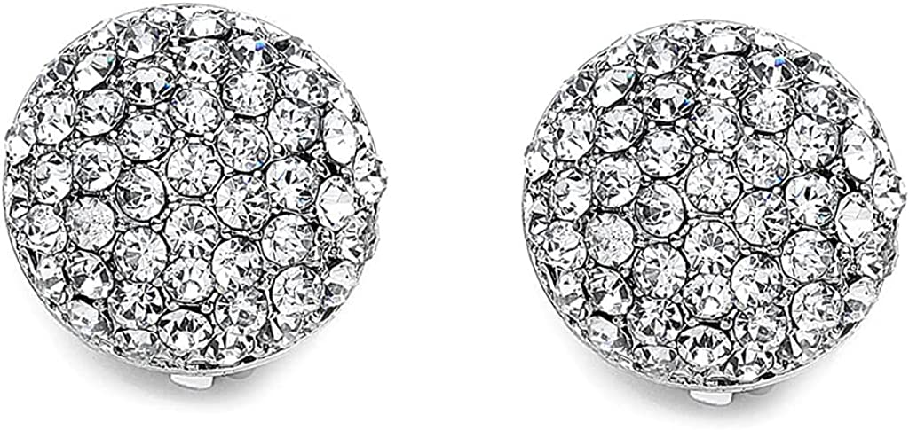 PNK Trend Rhodium Plated Pave Crystal Round Clip On Earrings-12mm, 15mm, 17mm