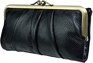 Soft Leather Wallets for Women Compact Bifold Clutch Wallet Ladies Coin Purse With Zipper and Kiss Lock (black)