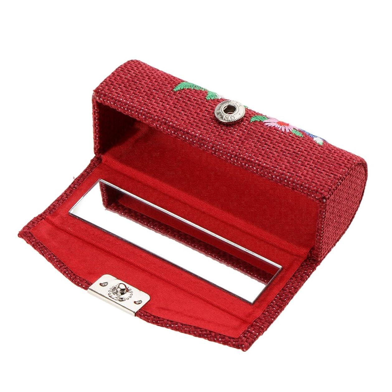 忙しい核再生Blesiya 化粧ポーチ 口紅ホルダー リップグロス 収納ケース ジュエリー ストレージ メイクアップ ミラー付き 収納ボックス 6色選べる - ワインレッド