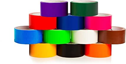 GIFTEXPRESS 12 Assorted Colored Duct Tapes 10 Yards x 2 Inch Rolls,12 Multi Purposes Bright Colors Tapes Great for DIY Art Kit Home School, Colors: Black Navy Purple red Orange White Teal Lime Green