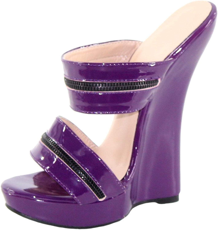 Wonderheel 7  Wedges Slip on Purple Patent Sexy Fetish Women Platform Sandals