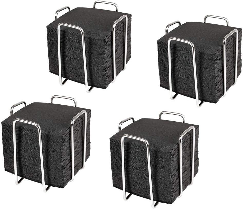 Hostelnovo - Set de 4 servilleteros con 400 ud de servilletas de cóctel 10x10 cm - Servilletero de Acero Inoxidable Resistente - Servilletas Color Negro, Papel desechable