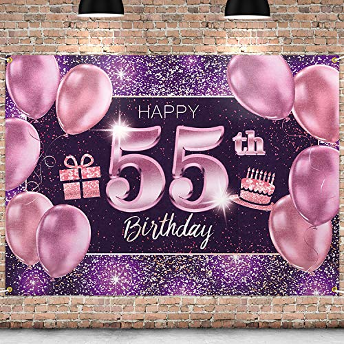 PAKBOOM Happy 55th Birthday Banner Backdrop - 55 Birthday Party Decorations Supplies for Women - Pink Purple Gold 4 x 6ft