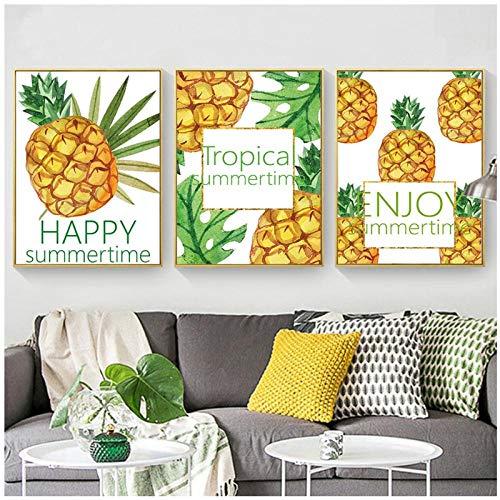 Dlfalg ananas Happy Summer Time Canvas Art Schilderij Poster en Print Natuur Muurfoto voor Woonkamer Home Decor- 40 * 60Cm*3 Niet ingelijst