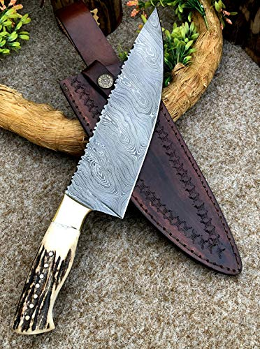 Custom Handmade Full Tang Damascus Steel 12.1'' Chef Knife with Stag Horn Handle and Pure Leather Sheath