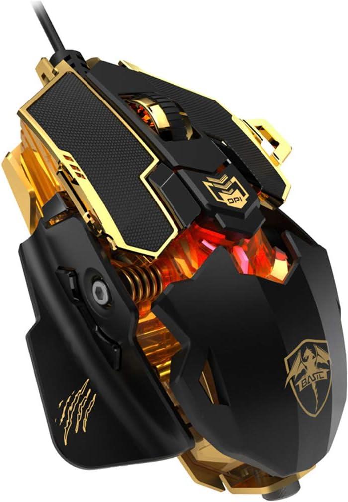 YU-HELLO _4 Gear DPI Ratón mecánico programable con cable ajustable RGB Gaming Mouse