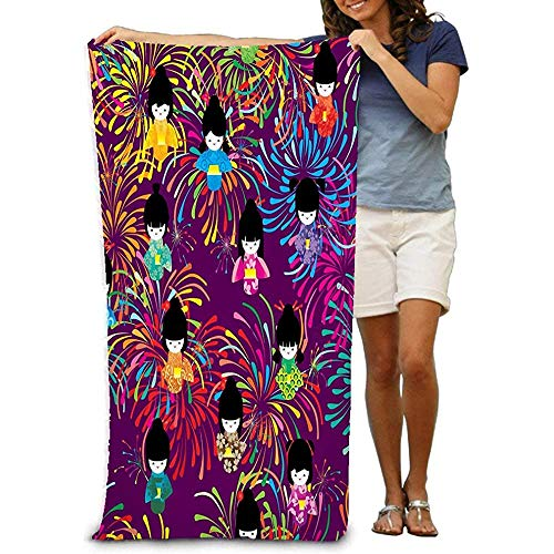 Yocmre Beach handdoek bad handdoeken Japanse pop hanabi vuurwerk spelen kleurrijke kat Cracker paars Hipster