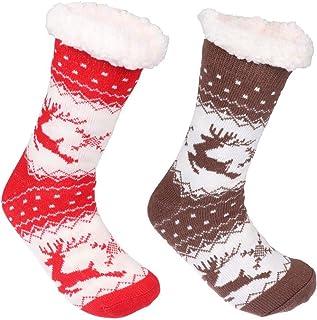 Xgood 2 Colors Warm Slipper Socks Fleece Lined Winter Soft Socks Christmas Winter Home Socks Suitable for Women Men Kids