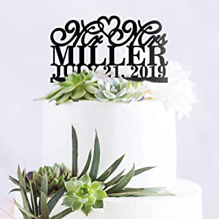 Personalized Custom Mr & Mrs Wedding Cake Topper with Your Last Name and Date