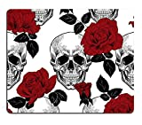 Sugar Skull Red Rose Custom Mouse Pad Personalized Design Non-Slip Rubber Mousepad