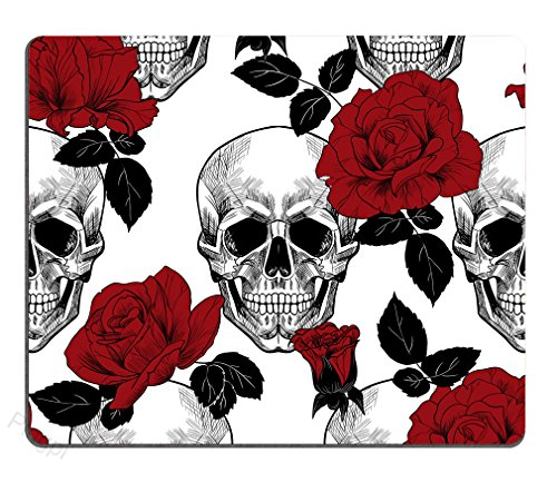 Sugar Skull Red Rose Custom Mouse Pad Personalized Design Non-Slip Rubber Mousepad