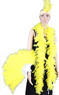 3 Pieces Items Contain Feather Fan, Feather Boa, Ostrich Headdress-Great for Party, Wedding, Halloween Costume Decoration (Yellow)