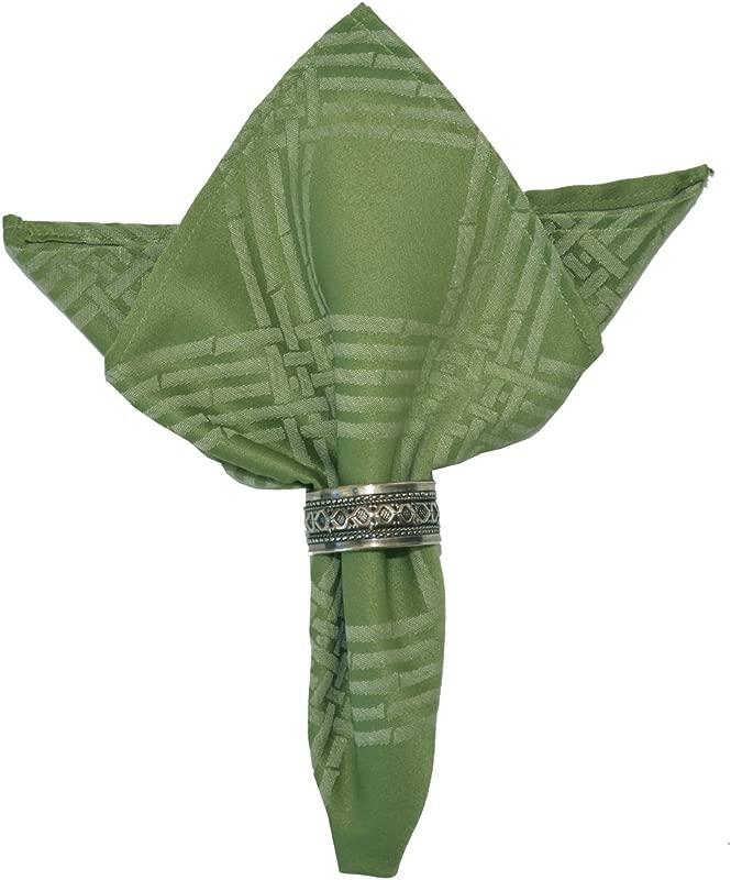 Sweet Pea Linens Set Of 4 Celery Green Lattice Jacquard Cloth Napkins