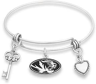FTH Missouri Tigers Silver Tone Bangle Bracelet, Heart and Key Charm