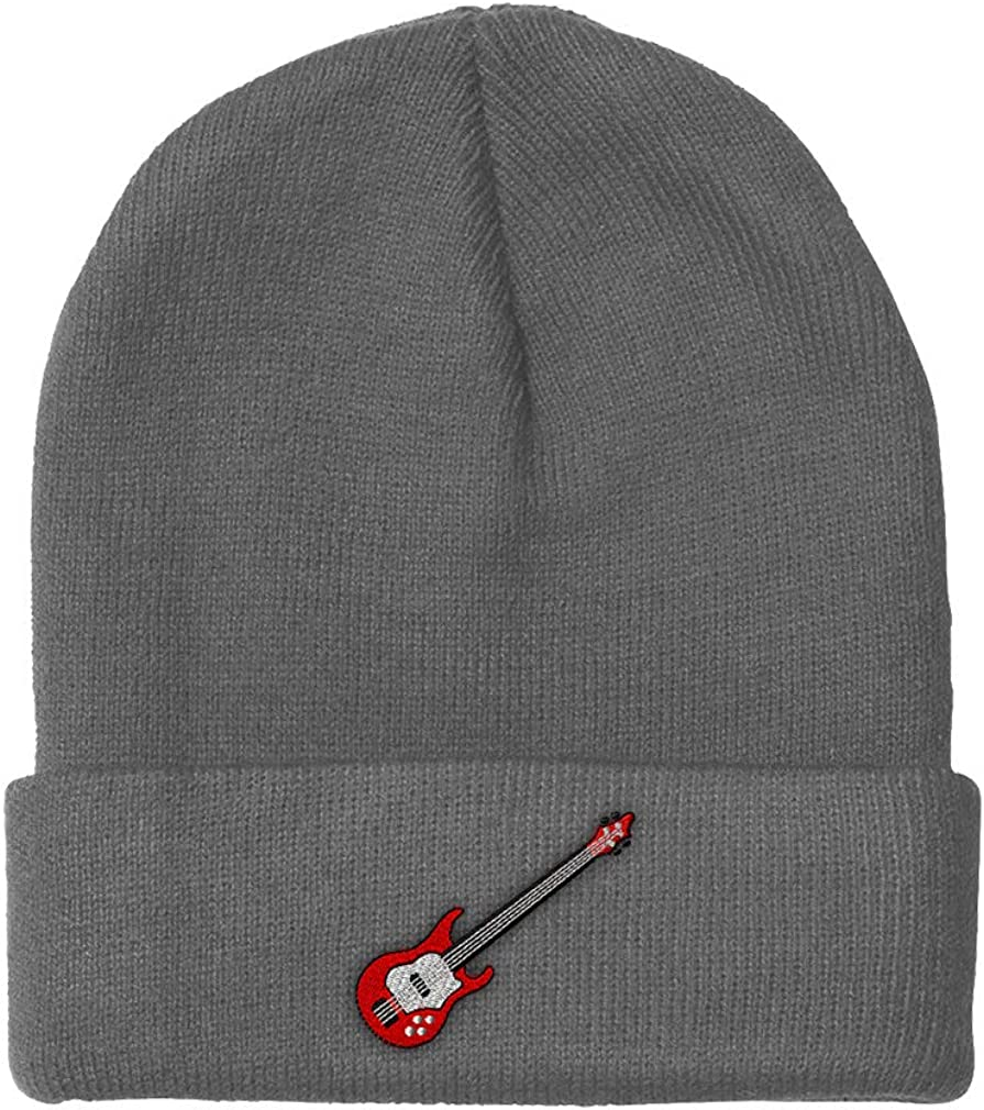 Beanies for Men Bass Guitar Fees free A Embroidery Acryl Chicago Mall Women Winter Hats
