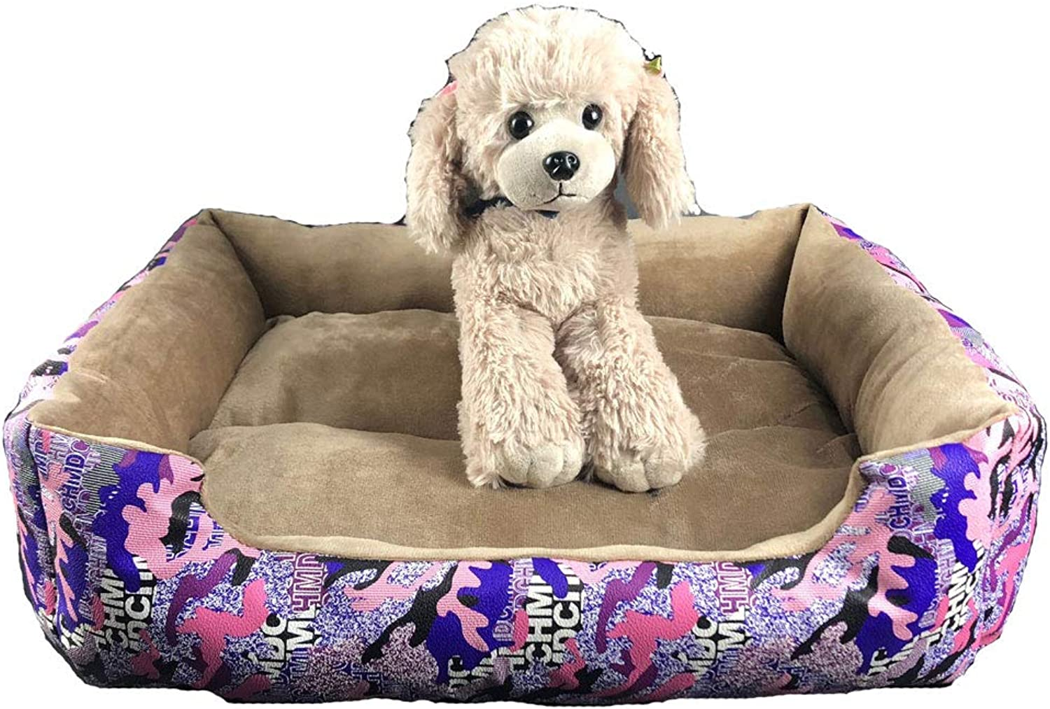 Obzk Waterproof Pet Bed Four Seasons Universal Warm Soft Cat Litter Kennel Wear Resistant Bite Pad Suitable For Cats And Puppies,Purple,L