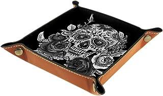 1 plateau en cuir PU pour ranger des clés, des bijoux, des clés, un portefeuille, une boîte de rangement pour les clés, un...