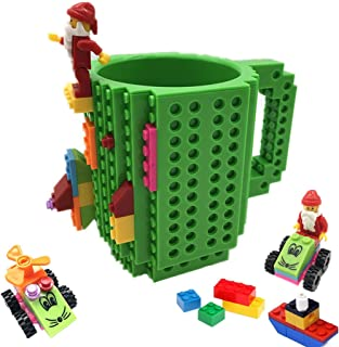 BUTLING Build-On Brick Mug, Creative DIY Building Blocks Coffee Cup, Water Bottle Puzzle Toy Mug, Desk Ornament, Unique Christmas Gift Idea, Compatible with Lego (Green)