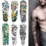 Temporary Tattoos for Women Men Adults Kids boys girls Extra Large Full Arm Hand Waterproof Tattoo Stickers 6 Sheets with Totem Ghost Rock Heavy Metal Music Halloween