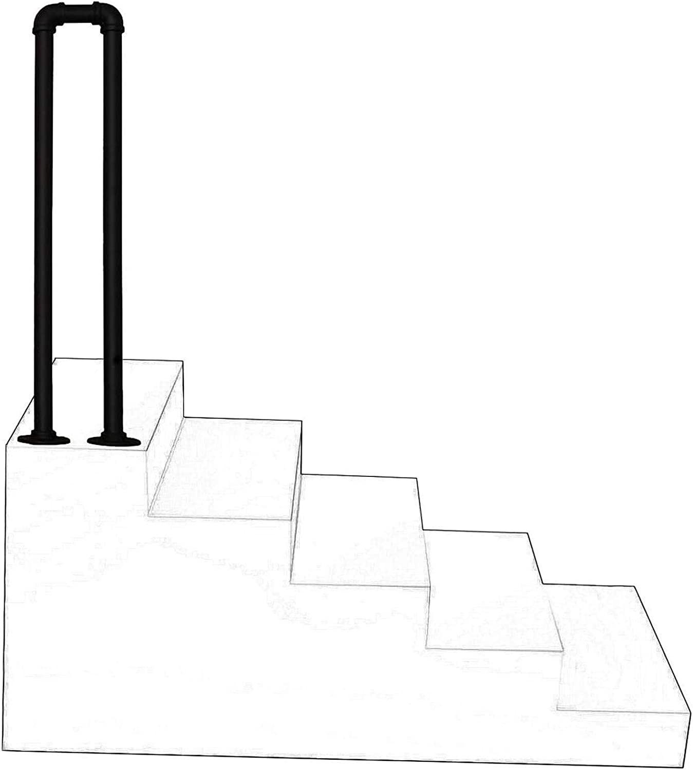 Free Shipping New XFSHKJS Max 46% OFF 1 Step Black Stair Handrail Wrought U-Shaped Safet Iron