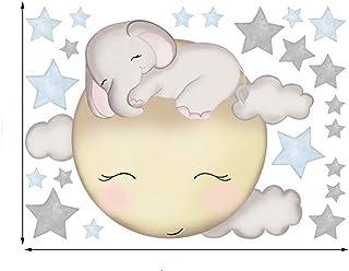 Wall Stickers Sleeping Elephant Moon Stars Wall Stickers Ins DIY for Children's Bedroom Creative Graffiti Cartoon Animal (...