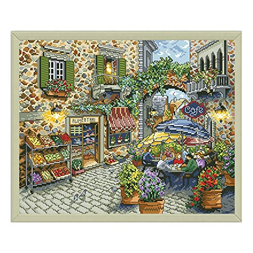Straßenkaffee gezählt Kreuzstich Bedruckte Leinwand Stickerei Kits 11ct 14ct DIY Handgemachte Handarbeit Handwerk Wohnkultur Gemälde Kreuzstich-Malerei