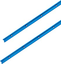 """POWERTEC 71118 Double-Cut Profile Universal T-Track with Predrilled Mounting Holes(2-Pack), 24"""" Anodized Blue"""