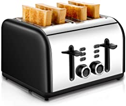 4 Slice Toaster, CUSINAID Stainless Steel Toasters with Reheat Defrost Cancel Function, 7-Shade Setting, 4 Wide Slots Toas...