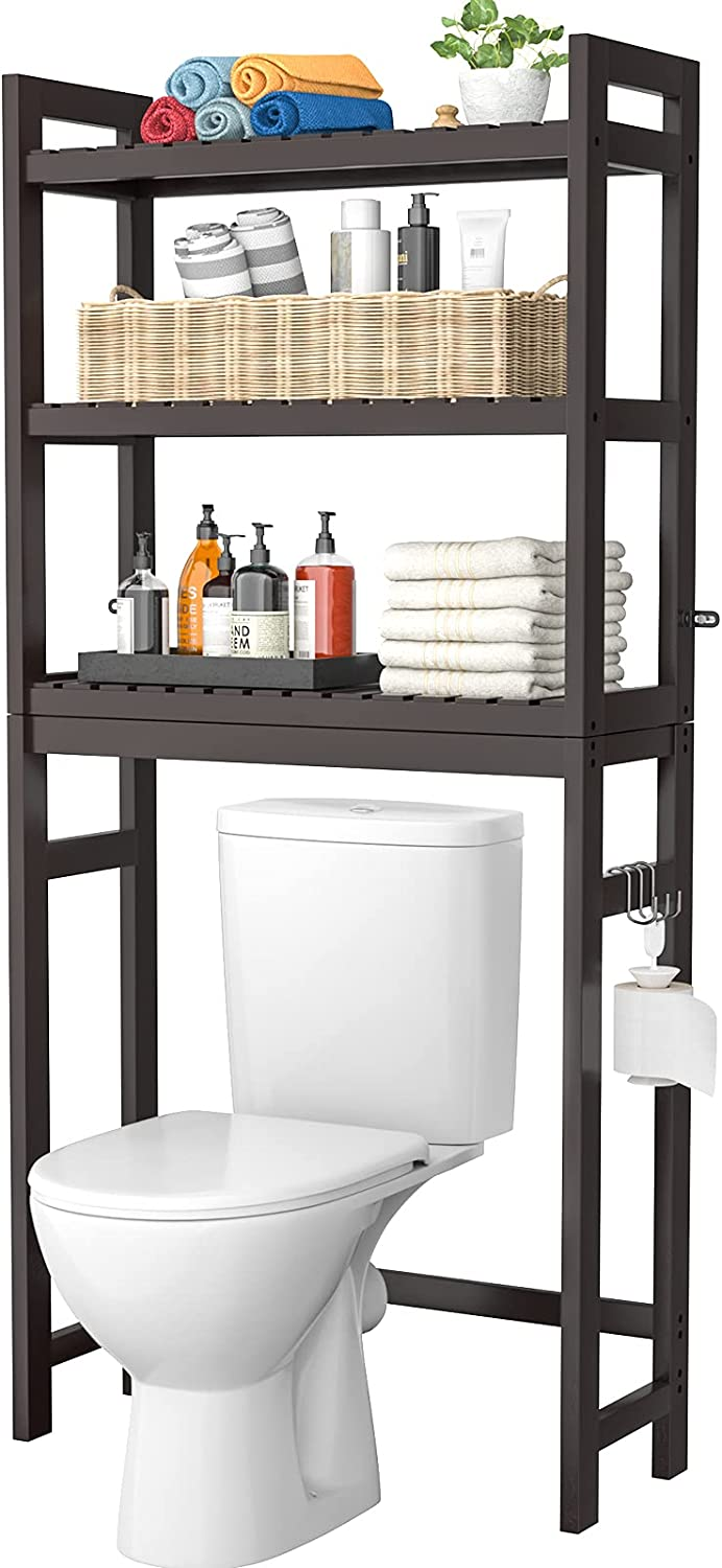 Homykic Bamboo Over-The-Toilet Storage, 3-Tier Space Saver Organizer Rack, Stable Freestanding Anti-Tilt Shelf with 3 Hooks for Laundry, Balcony, Porch, Espresso