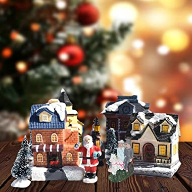 Christmas Village Sets, Resin Christmas Ornament with LED Light Christmas Village Houses, Christmas Indoor Home Decor Collect