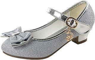 Zapatos Tacon Niña Zapatillas Princesa Lentejuelas Infantil Sandalias de Vestir Fiesta Bowknot para Niñas