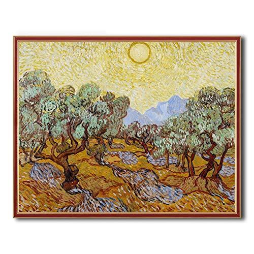 sooyoo 5D Diamant malerei Gemälde Full Drill Mosaik SetVan Gogh Olivenbaum 1DIY Diamond Painting Bilder Crystal Strass Kreuz Stich Diamond Dekoration Kunst Handwerk Kits DécorSquare Diamond,30x50cm