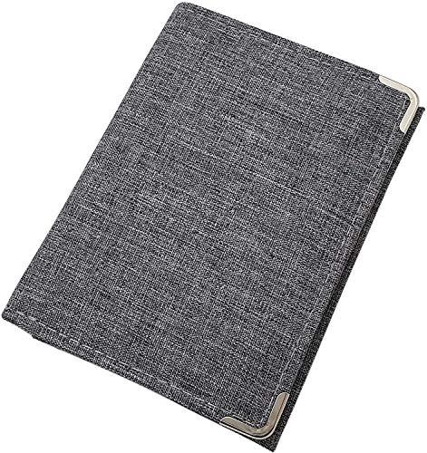 myledershop Cartera en Formato vertical con esquinas metálicas de protección en gris